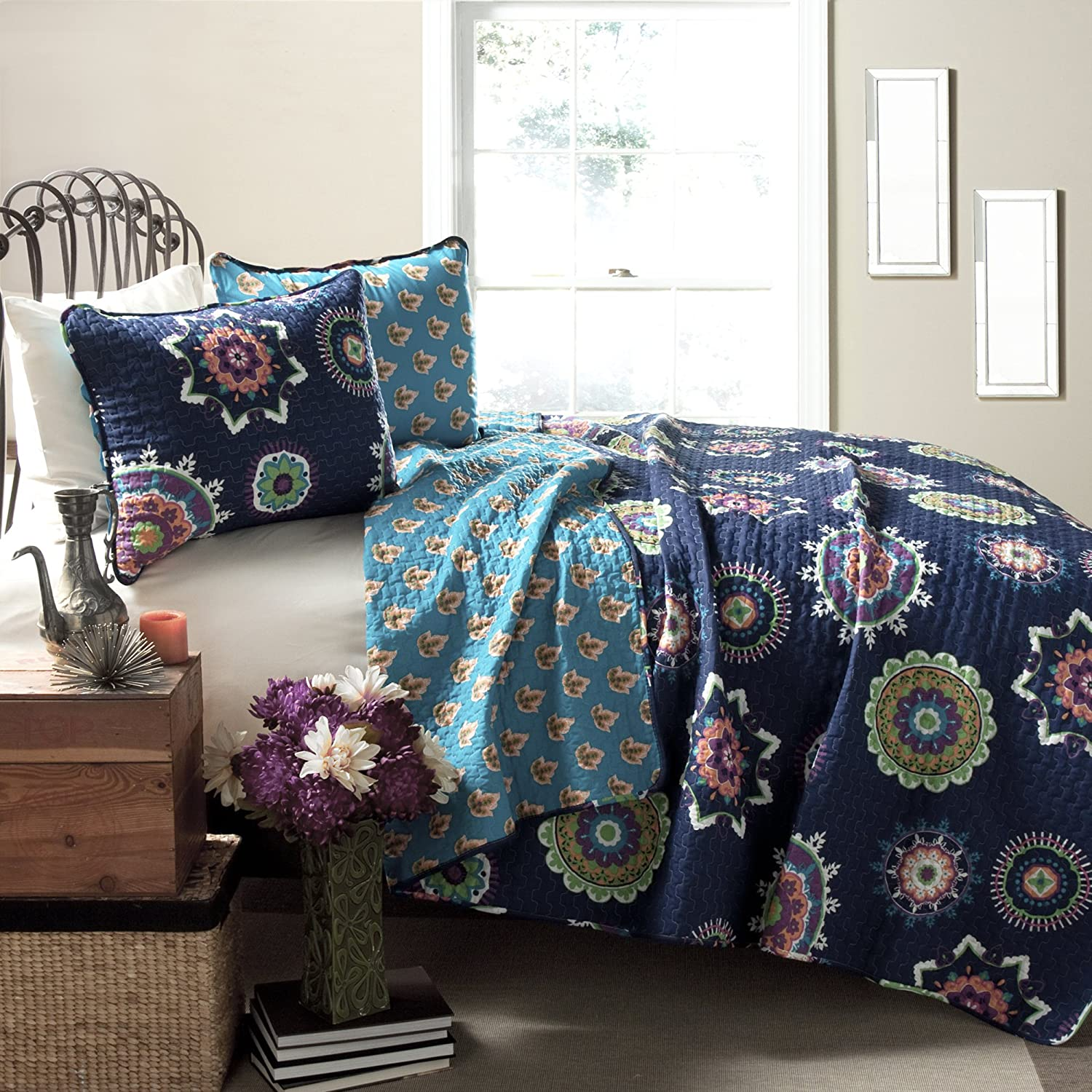 Lush Decor Adrianne 3-Piece Quilt Set, King, Navy