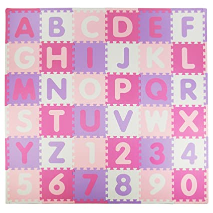 Tadpoles Soft EVA Foam 36Piece ABC Playmat Set 74x 74 36 Sq 36 Sq Pink//Aqua
