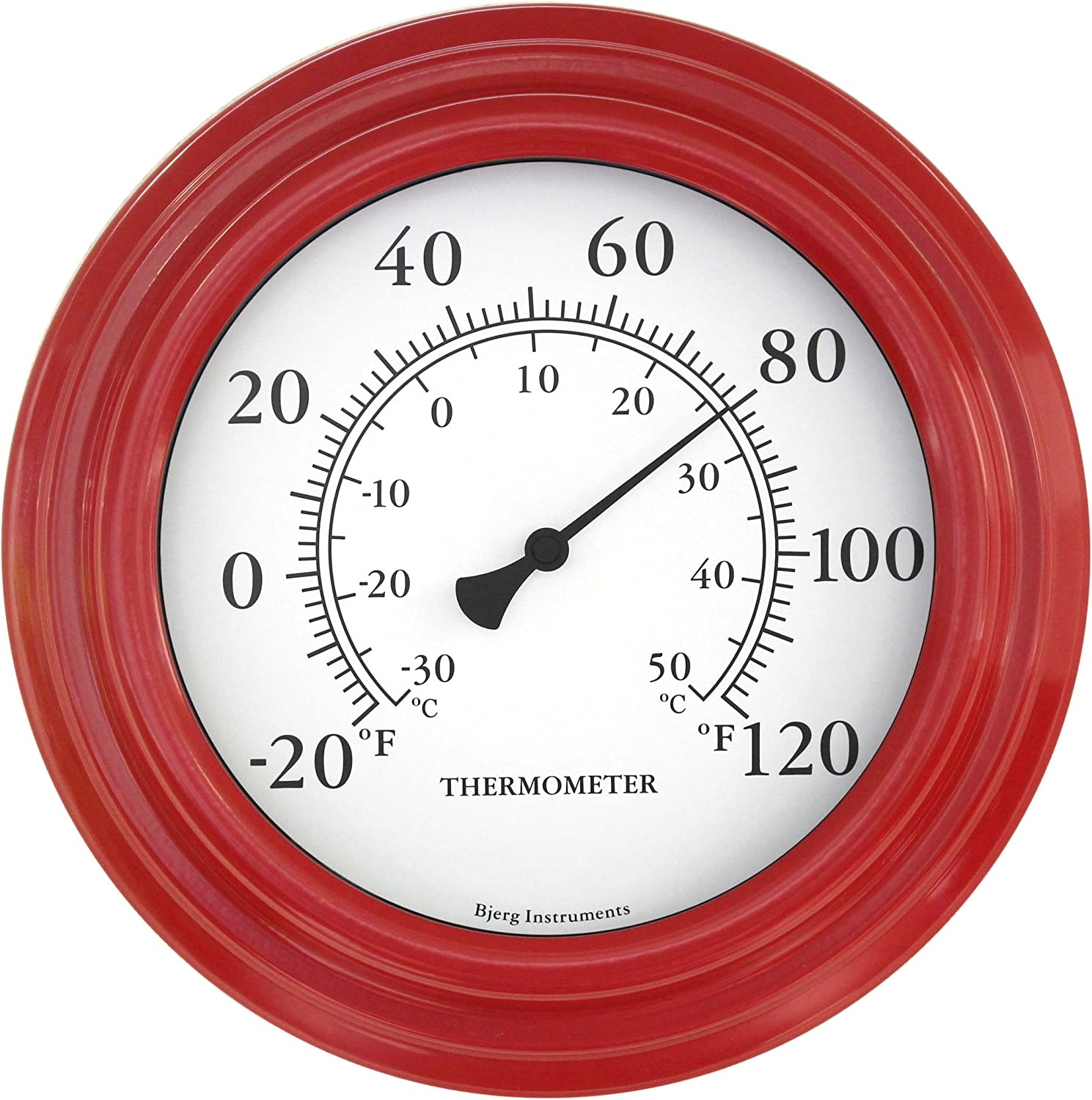 "Bjerg Instruments 8"" Red Decorative Indoor/Outdoor Thermometer Only"