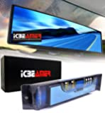 """ICBEAMER 11.8"""" 300mm Easy Clip on Universal Fit Wide Angle Panoramic Auto Interior Rearview Mirror """"Flat Blue Surface"""""""