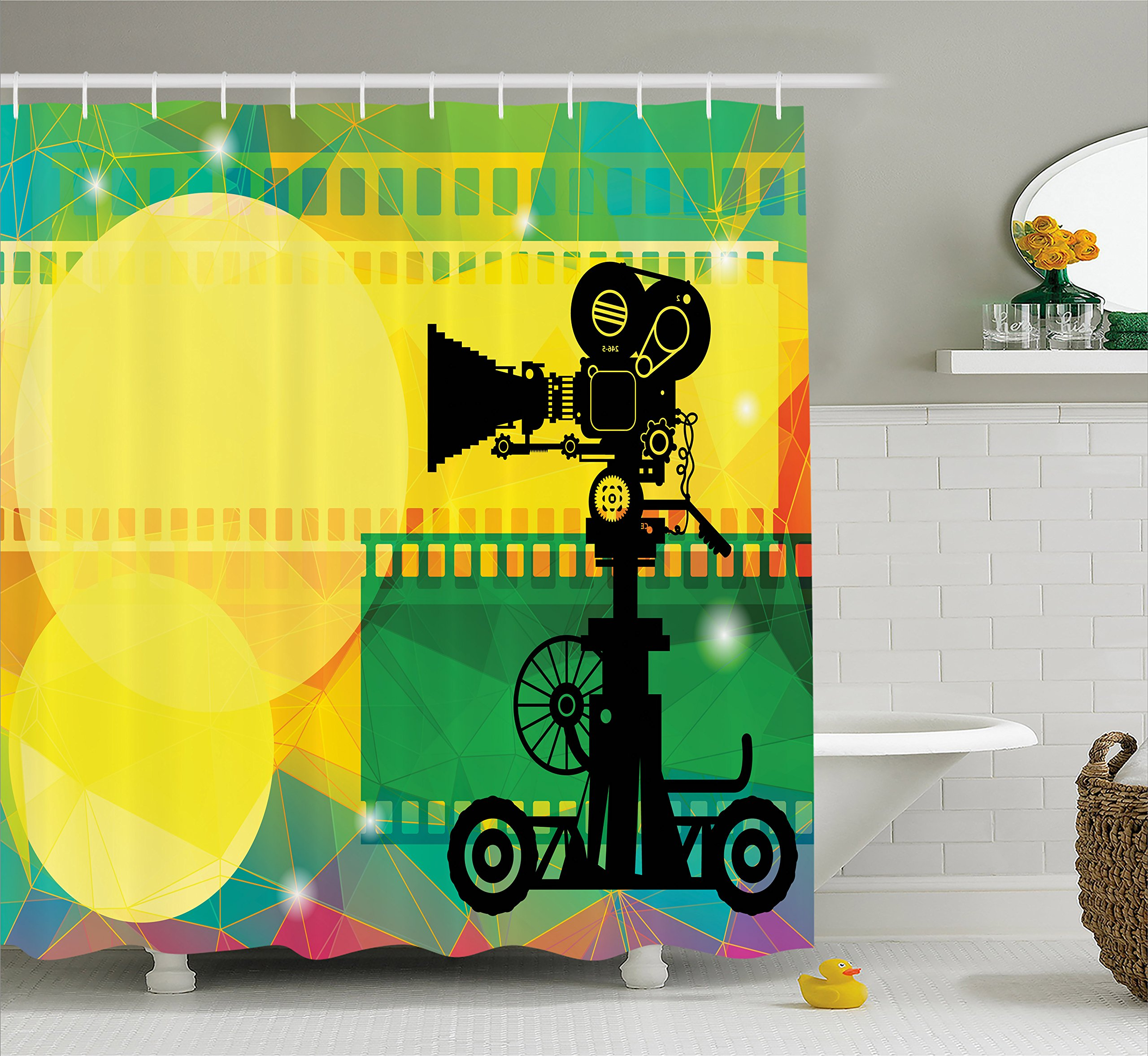 Ambesonne Movie Theater Shower Curtain, Abstract and Vibrant Colored Composition with Strips Projection Silhouette, Cloth Fabric Bathroom Decor Set with Hooks, 70 Inches, Multicolor