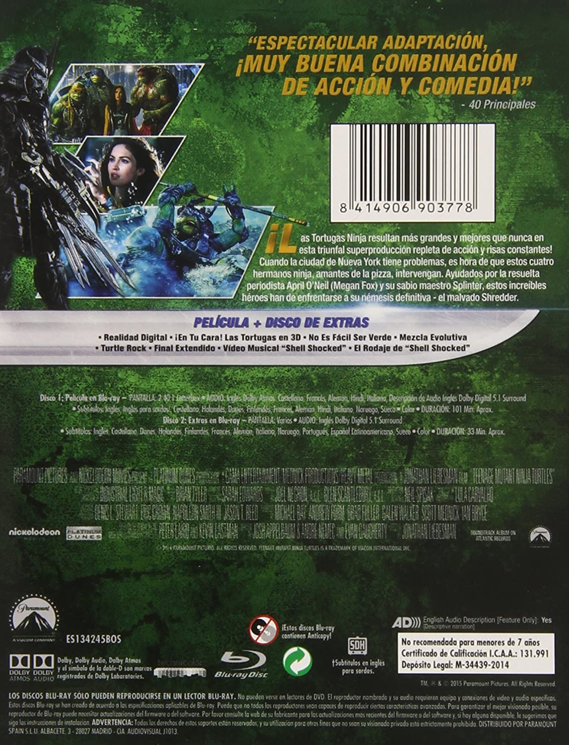 Ninja Turtles - Edición Marco BD + BD Extras Blu-ray: Amazon ...