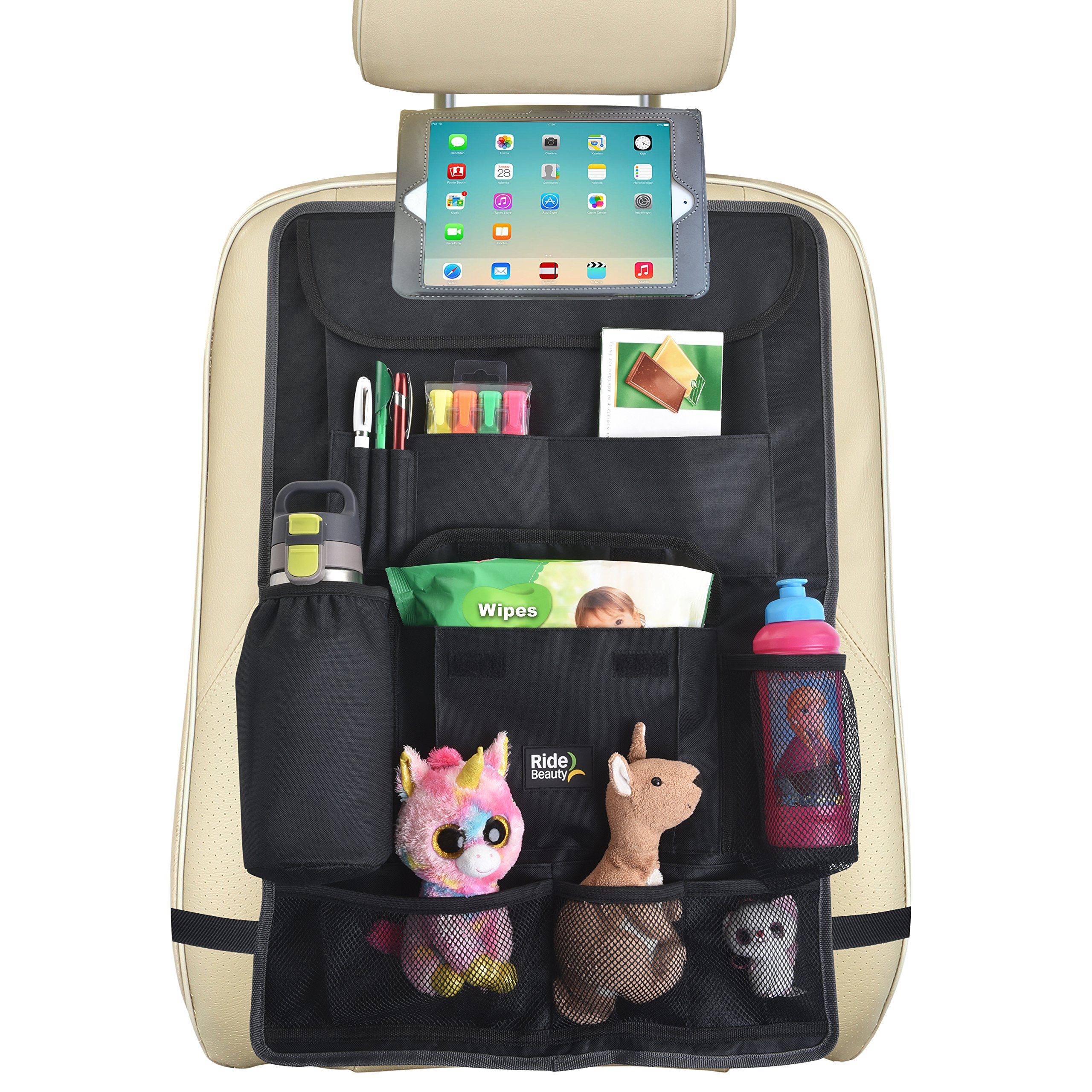 Backseat Car Organizer :: Extra Large Hanging Storage Bag with Tablet Holder + Multiple Pockets :: Fits All Car Seats, Hangs Flat, Holds Toys, Bottles & More, 26.7'' x 17.7'', Black by Ride Beauty