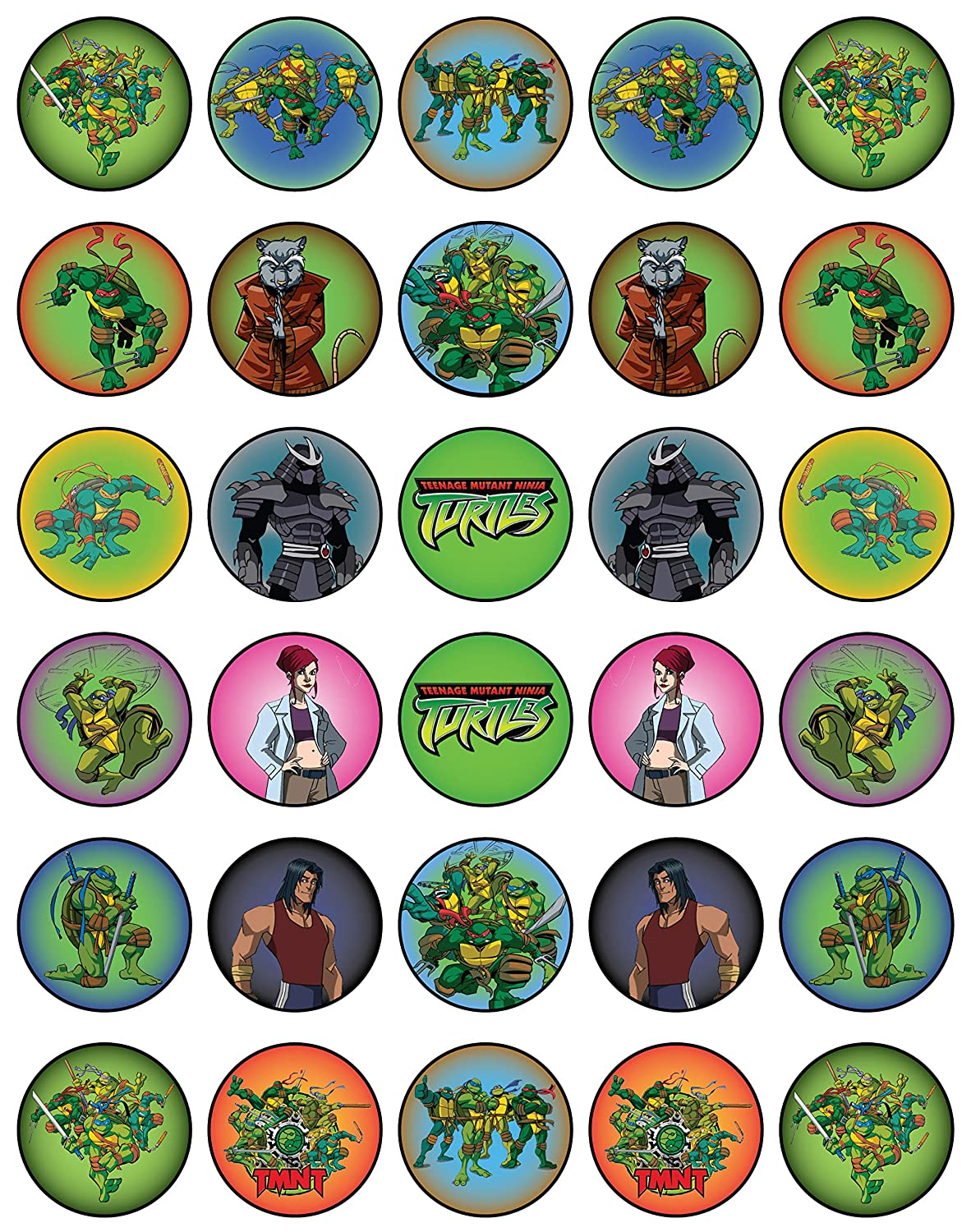 30 x Edible Cupcake Toppers – TMNT New Party Collection of Edible Cake Decorations |Edible Wafer Sheet