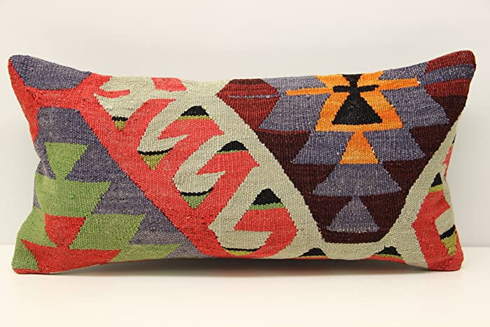 Oblong Kilim Pillow Cover 12x24 Inch (30x60 Cm) Anatolian Kilim Pillow  Chair Pillow Accent