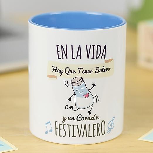 La Mente Es Maravillosa Taza Con Frase Y Dibujo Regalo Original Y Gracioso En La Vida Hay Que Tener Salero Y Un Corazión Festivalero Taza Diseño