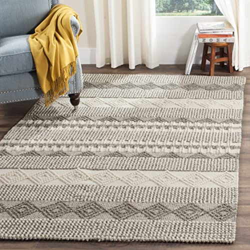 Safavieh Natura Collection NAT102A Grey and Ivory Area Rug, 9 x 12