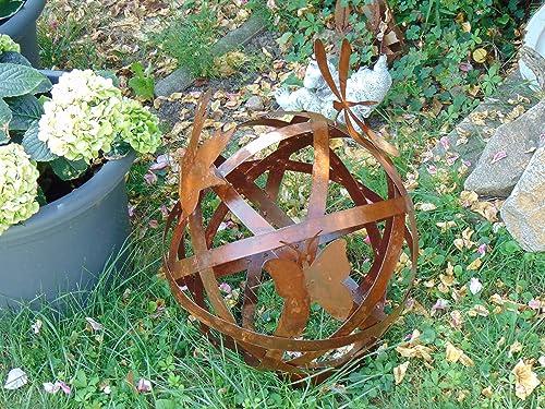 Rost-Kugel Metall-Kugel Edelrost Kugel D 30 cm mit zwei Schmetterlingen und einer Libelle