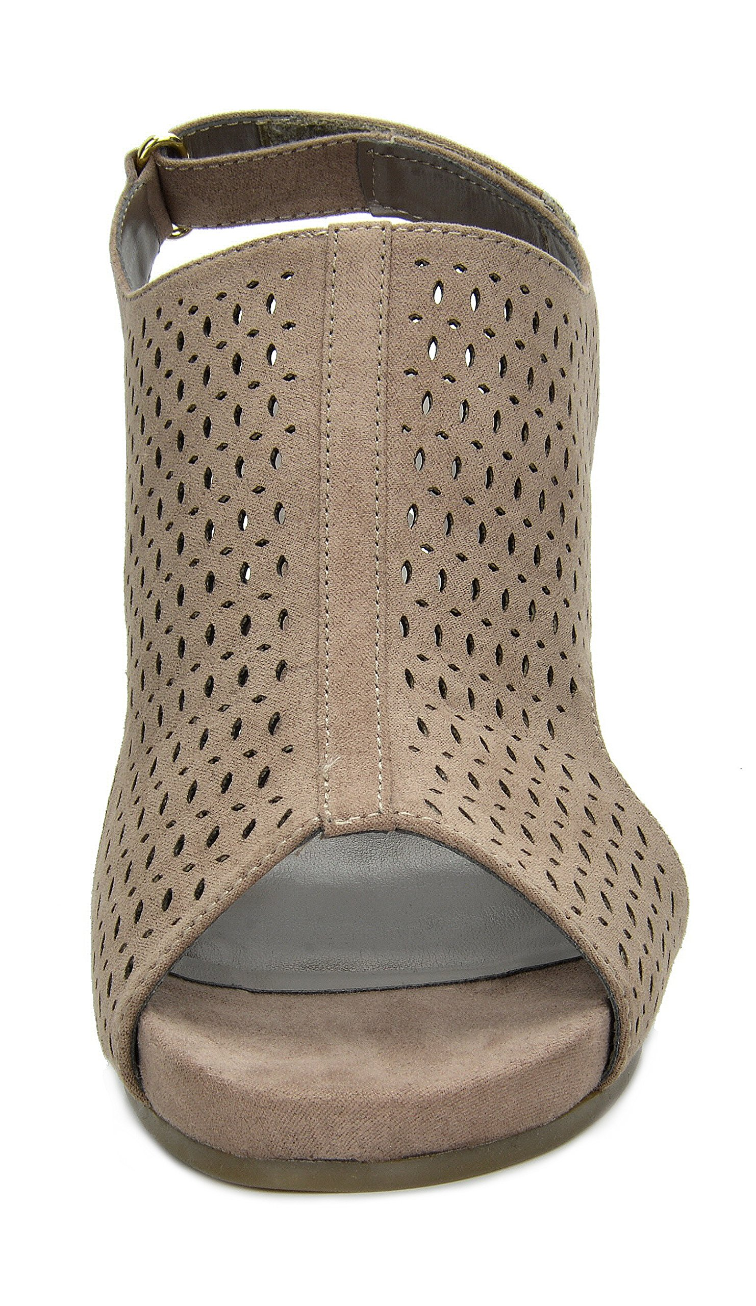 TOETOS Women's Solsoft-6 Taupe Mid Heel Platform Wedges Sandals - 9.5 M US by TOETOS (Image #5)