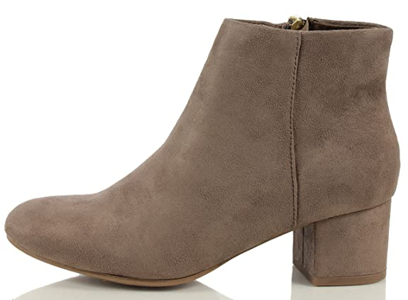 Women's Closed Round Toe Faux Suede Wrap Heel Mid Heel Ankle Bootie Taupe 75 M US