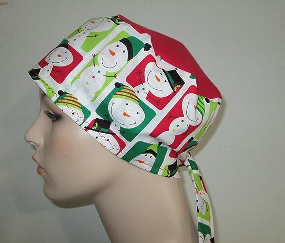 5b7a413cb2543 Amazon.com  Womens Scrub Cap Snowmen Print Cap Nurses Hat Chemo Hat   Handmade