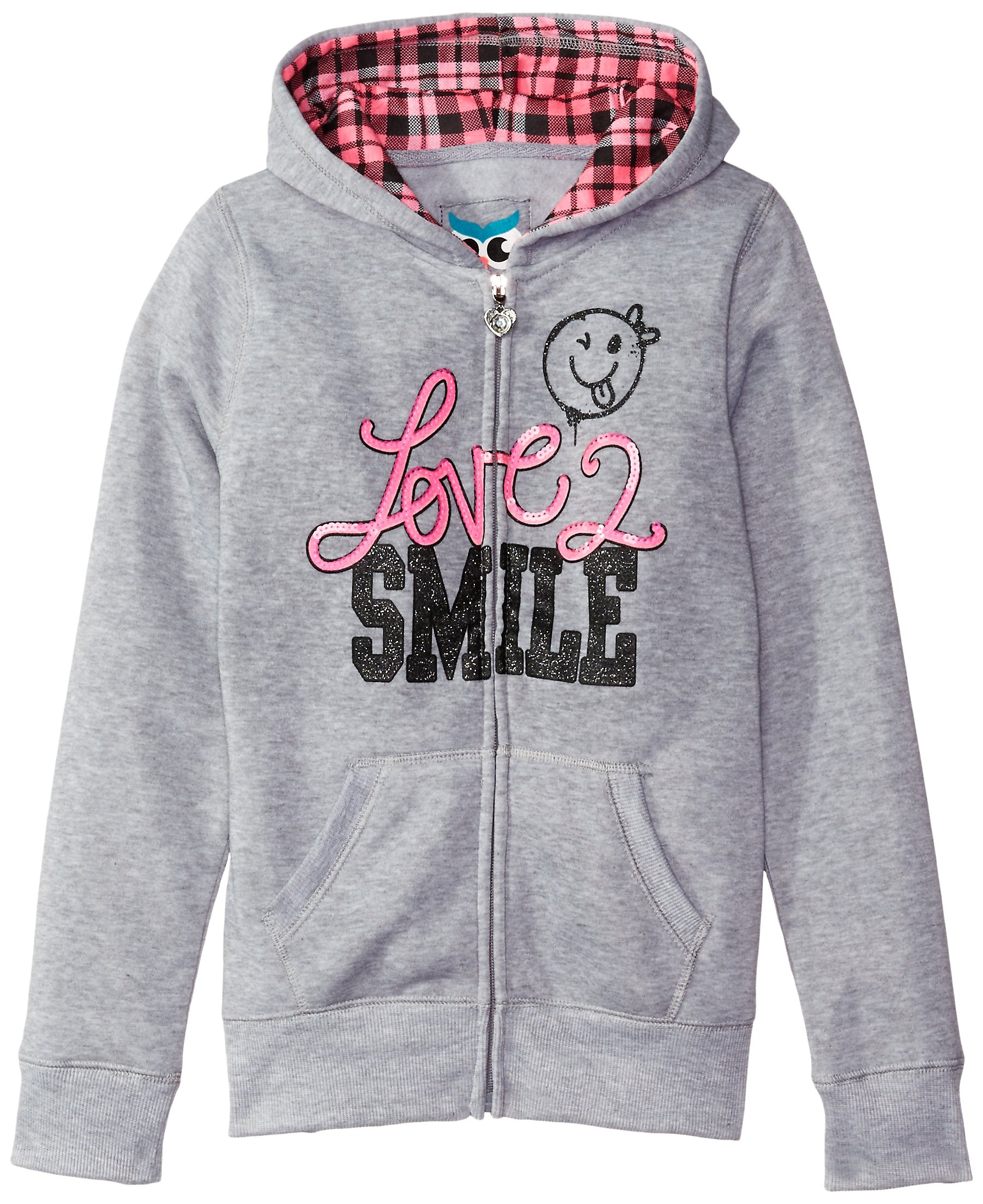 Pink House Little Girls' Love 2 Smile Fleece Hoodie, Heather Grey, 4