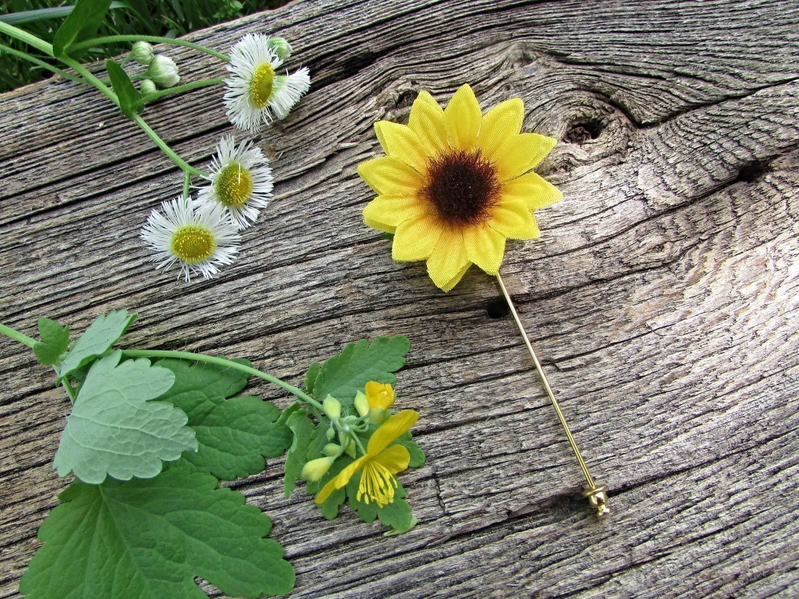 Sunflower Pin- Groom Groomsmen Mens Lapel Boutonniere- Bridesmaids Flower Girl Corsage- Boho Country Wedding Prom