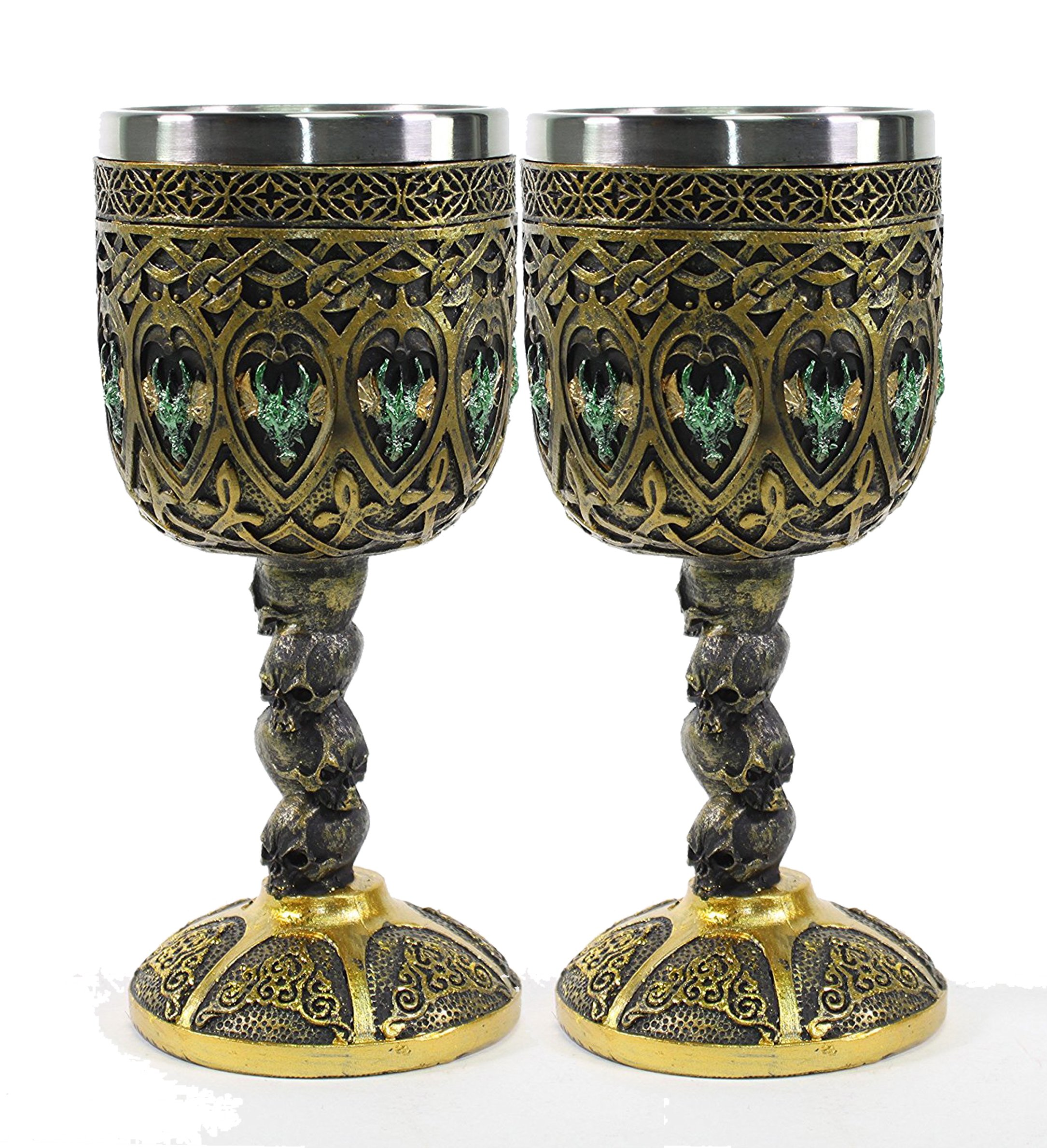 Mythical Bronze Royal Dragon Wine Goblet Skulls Medieval Collectible Magical Halloween Party Home Decor Gift (G16595) ~ We Pay Your Sales Tax