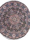 Handmade Masterpiece Palace Size Wool & Silk Tebriz Oriental Round Rug 17x17 Black