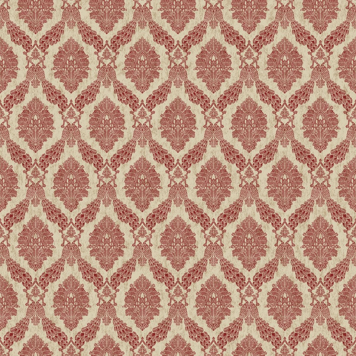 D/écor Direct YWHO3304 Biscayne Roll of Damask Decorative Hanging Wallpaper Beige