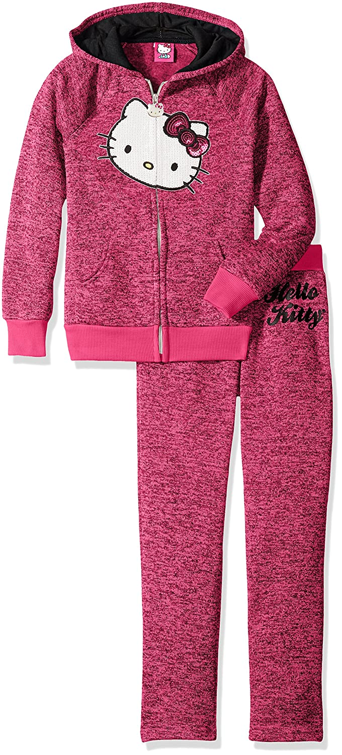 Hello Kitty Girls' 2 Piece Hoodie and Pant Fleece Active Set