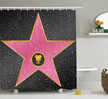 Ambesonne Popstar Party Shower Curtain Hollywood Walk Of Fame Symbol Celebrity Entertainment Culture Fabric