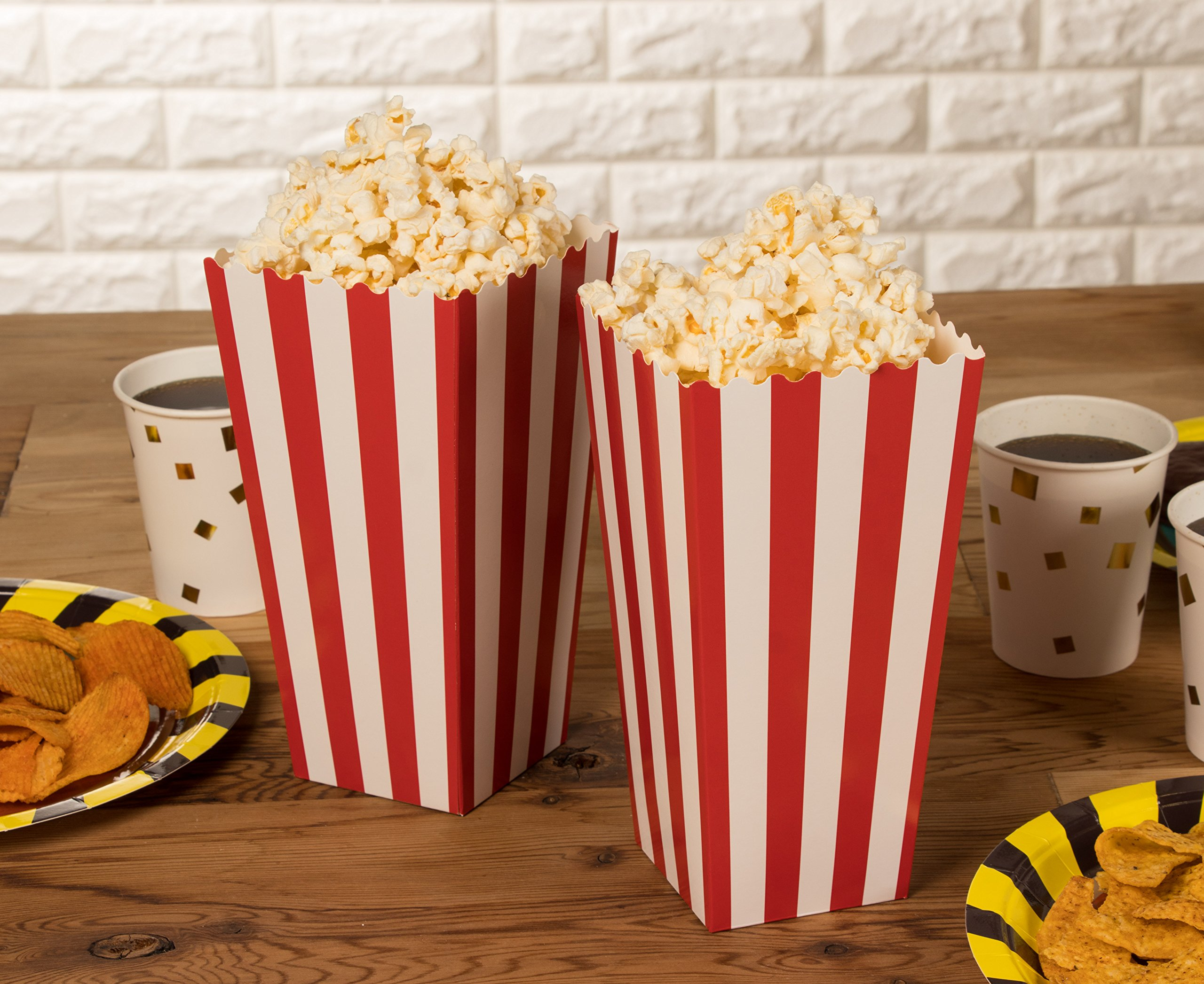 Set of 100 Popcorn Favor Boxes - Paper Popcorn Containers, Popcorn Party Supplies for Movie Nights, Movie-Themed Parties, Carnival Parties, Pirate Party, Red and White - 3.7 x 7.8 x 3.7 Inches by Blue Panda (Image #8)