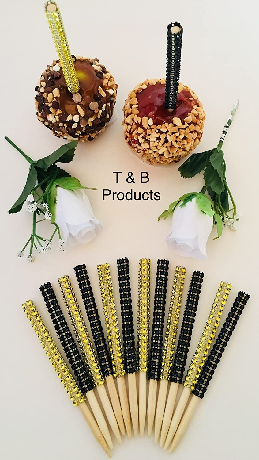 12 PC (6) Gold (6) Black Bling Candy Apple Sticks First Class Shipping