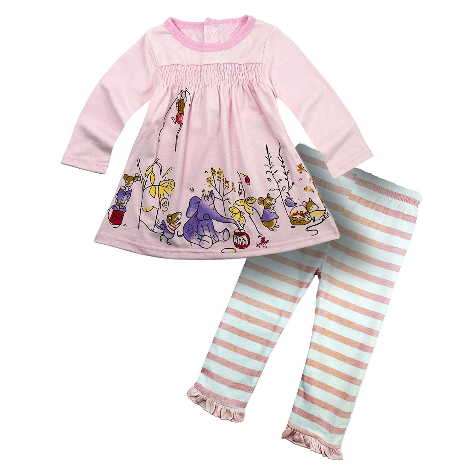 BIG ELEPHANT Baby Girls'2 Pieces Long Sleeve Shirt Pants Set Pink G12C