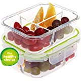 Glass Meal Prep Container, with 3 compartments(2 Pack). Locking, Airtight, Leak Proof, BPA Free Lid. Perfect for Packed Lunch. Portion Control for Diets. Microwave, Oven, Freezer, Dishwasher Safe.