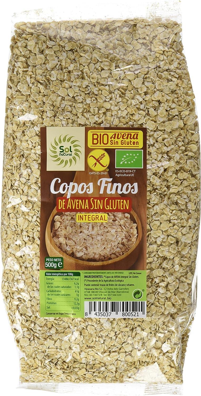 Sol natural - Copos de avena finos, sin gluten 500 gram: Amazon.es ...