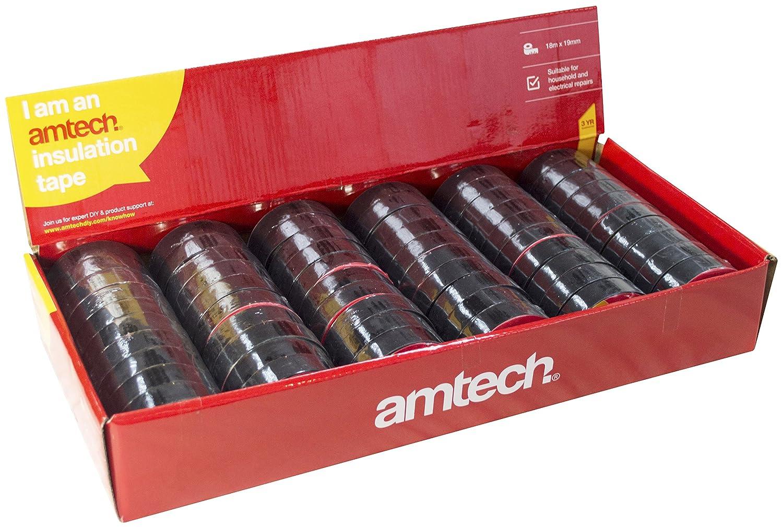 Am-Tech 60 piezas de cinta aislante, negro, S4175