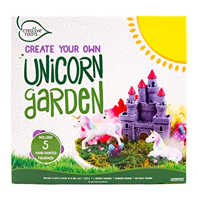 "CREATIVE ROOTS Create Your Own Unicorn Garden by Horizon Group USA, Includes 2 Unicorns, Castle, Mushroom & Butterfly Figurines & 10"" Planter: Toys & Games"