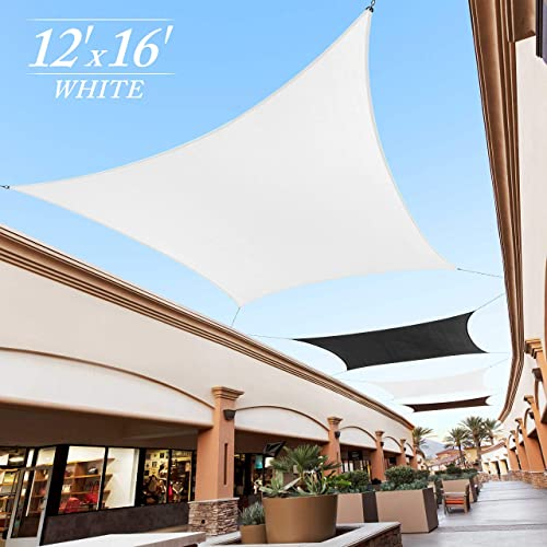 Royal Shade 12 x 16 White Rectangle Sun Shade Sail Canopy Outdoor Patio Fabric Shelter Cloth Screen Awning – 95 UV Protection, 200 GSM, Heavy Duty, 5 Years Warranty, We Make Custom Size
