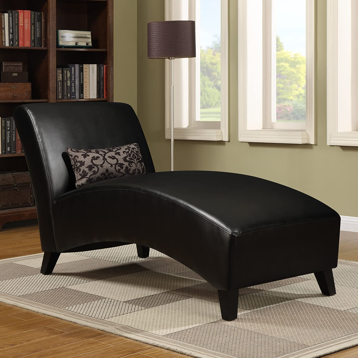 Amazon.com: Handy Living Cara Chaise in Black Renu: Kitchen & Dining