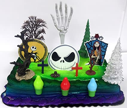 Christmas Birthday Image.Nightmare Before Christmas Birthday Cake Topper Set Featuring Jack Skellington And Friends And Decorative Themed Accessories