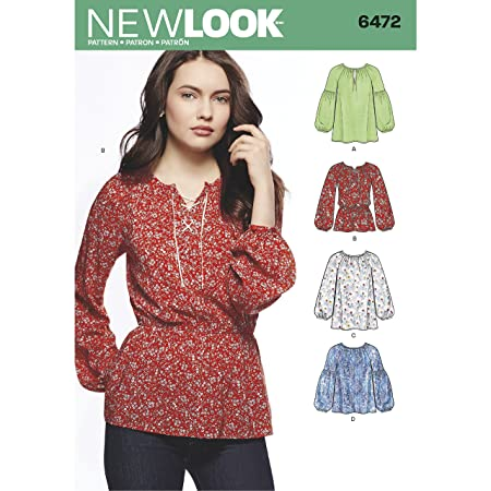 New Look 6472 Misses\' Boho Blouses Sewing Pattern, White: Amazon.co ...