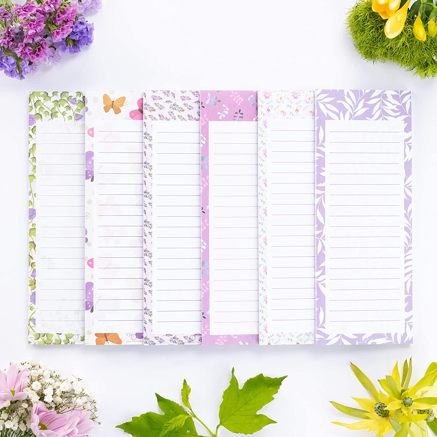 """Peach Tree Shade Magnetic Notepads, 6-Pack 60 Sheets Per Pad 3.5"""" x 9"""", for Fridge, Kitchen, Shopping, Grocery, To-Do List, Memo, Reminder, Note, Book, Stationery, (Ivynotes - Ivy Forest)"""