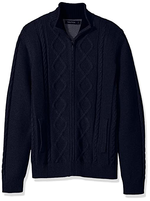 Men's Vintage Style Sweaters – 1920s to 1960s Nautica Mens Long Sleeve V-Neck Cable Sweater $159.30 AT vintagedancer.com