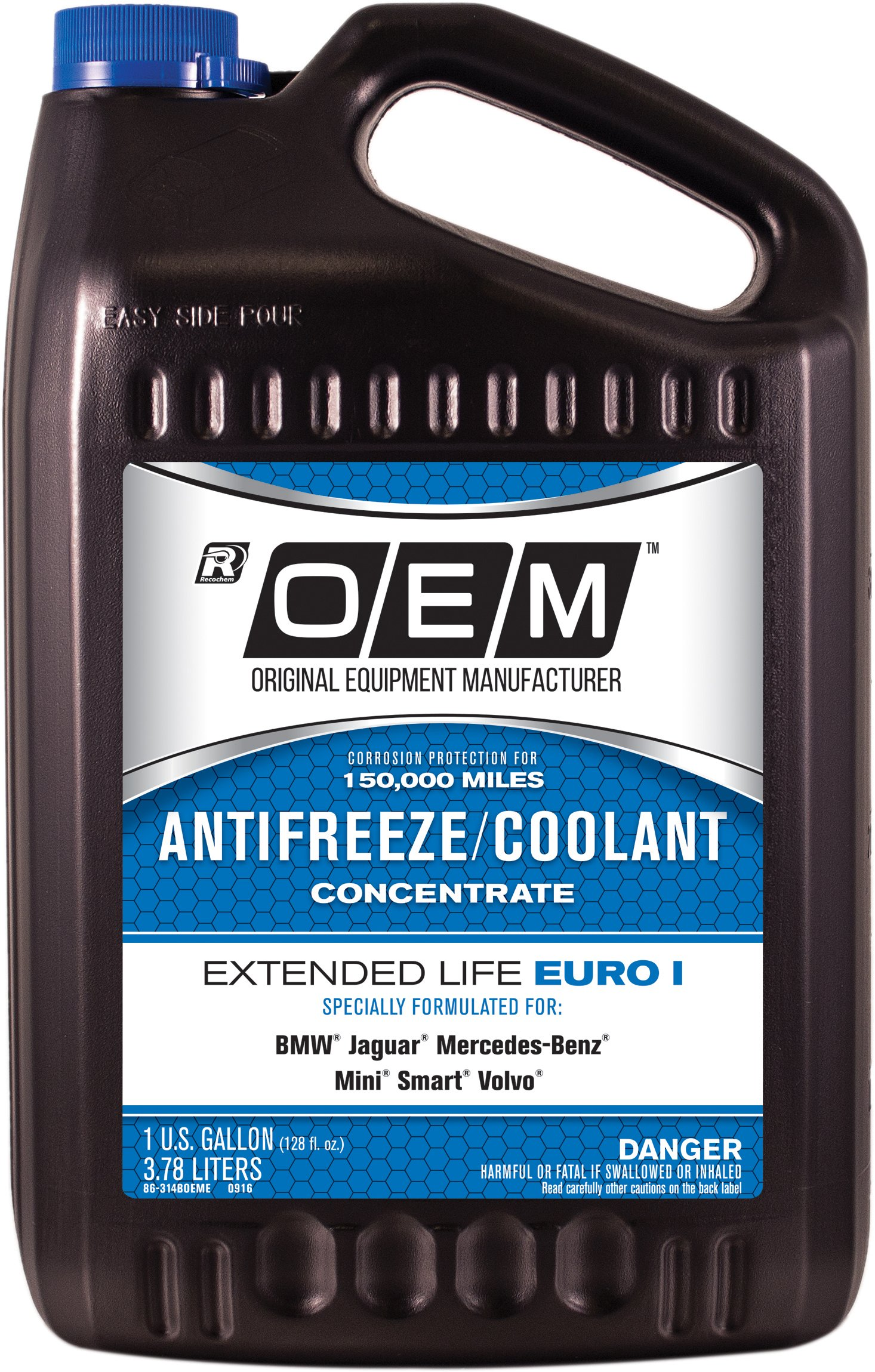 Recochem OEM 86-314BOEME-4PK Blue Premium Antifreeze Concentrate Extended Life - Euro I BLUE, 1 gallon, 4 Pack