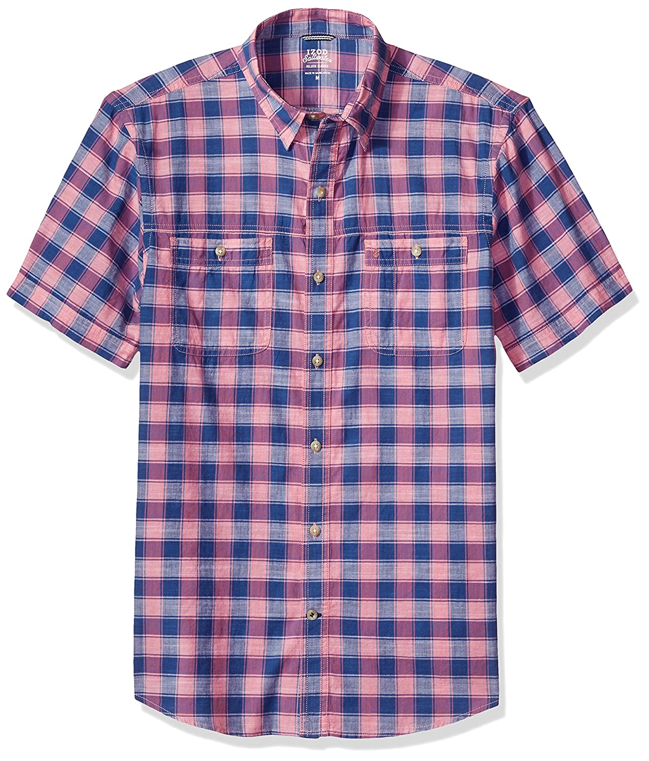 Izod Men's Saltwater Dockside Chambray Plaid Short Sleeve Shirt IZOD Men's Sportswear 82SW724