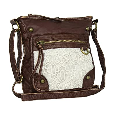 Brown Large Lace Faux Leather Crossbody Purse  Handbags  Amazon.com