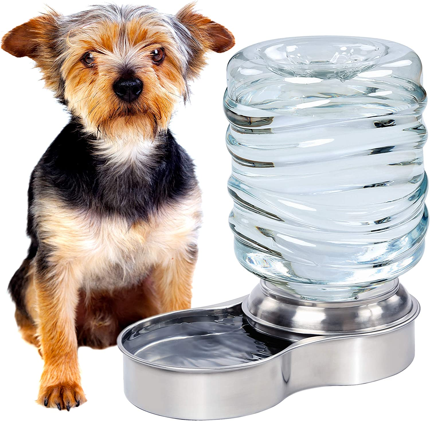 Bundaloo Dog Water Bowl Dispenser - Automatic Slow Refilling System Keeps Stainless Steel Drinking Dish Filled - Refillable 3 Liter Bottle, Non-Skid Feet - Clean, Safe, & Fresh Drink for Pet Dogs