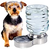 Bundaloo Dog Water Bowl Dispenser - Automatic Slow Refilling System Keeps Stainless Steel Drinking Dish Filled - Refillable 3