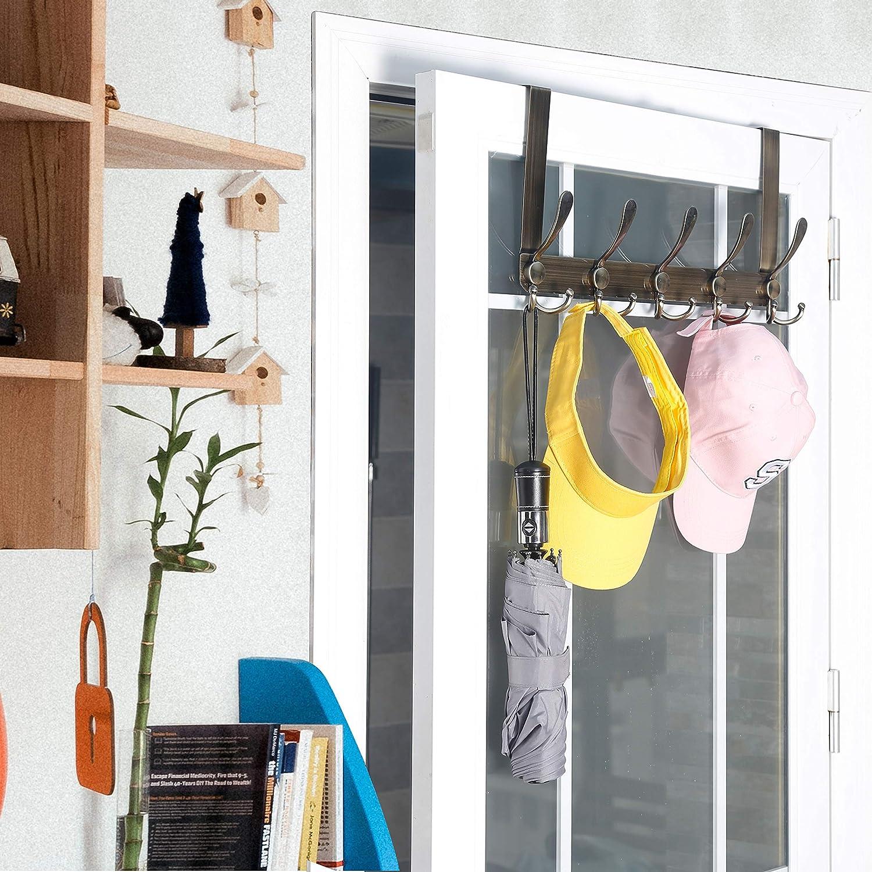 Hot Over The Door 5 Hooks Home Bathroom Organizer Rack Clothes Coat Towel Hanger