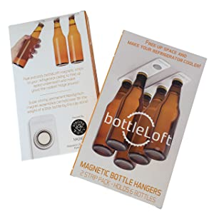 BottleLoft by Strong Like Bull Magnets, the original Magnetic Bottle Hanger, 2 Strip Pack (holds 6 bottles)