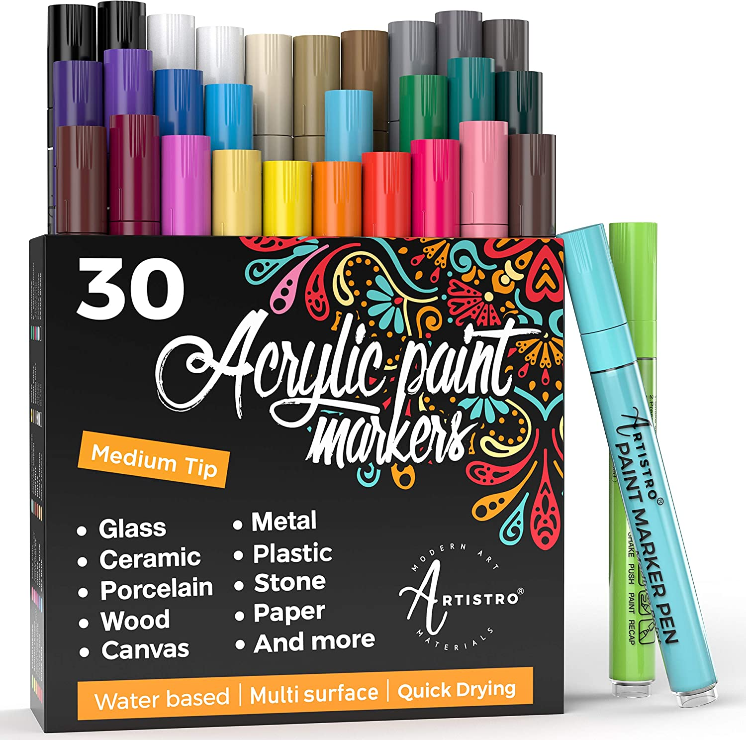 Acrylic Paint Pens – 30 Acrylic Paint Markers Medium Tip (2mm) - Great for Rock Painting, Wood, Fabric, Card, Paper, Photo Album, Ceramic & Glass - 28 Colors + Extra Black & White Paint Marker Set