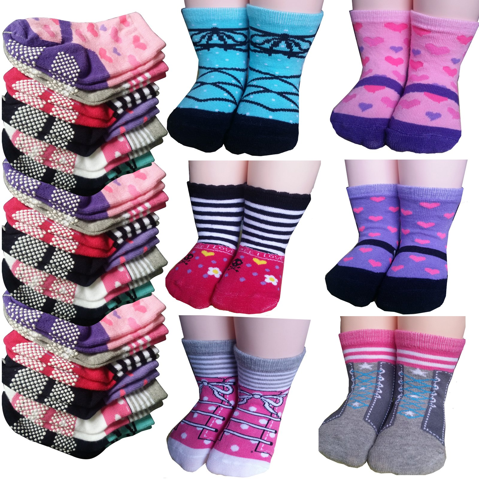 Non-Skid Gripper Assorted 6 Pairs 12-24 Months Baby Girl Toddler Socks Anti Slip Stretch Knit Grips Cotton Shoe Socks Slippers gift