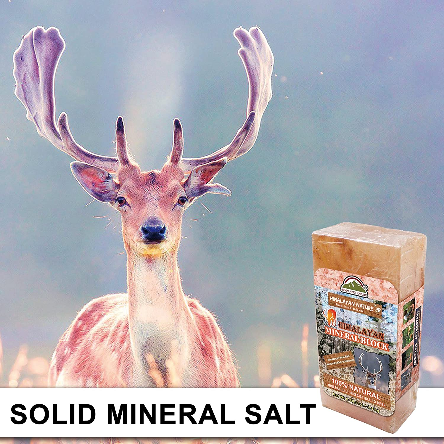 Natural Himalayan Rock Licking Salt Block for Animals Himalayan Nature Deer Salt Brick 3-5 lbs