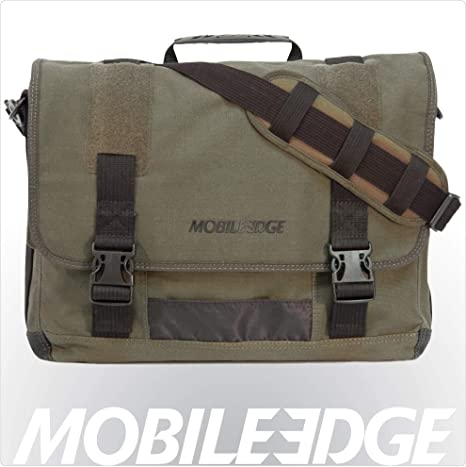 "Olive Mobile Edge MECME9 17.3/"" Eco-Friendly Canvas Messenger Bag"