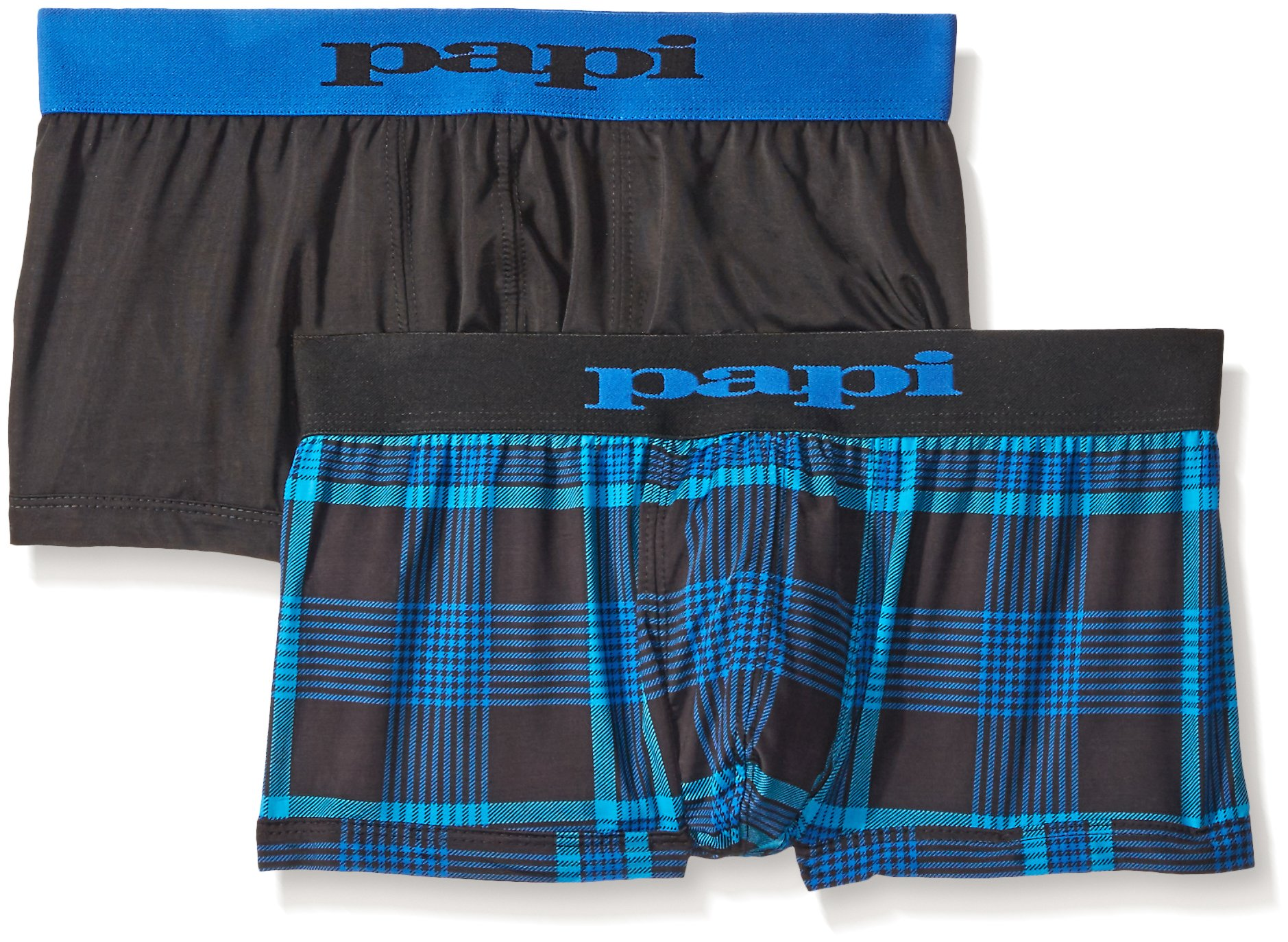 Papi Men's Cool 2-Pack Brazilian Plaid Trunk, Black/Blue, Large by papi