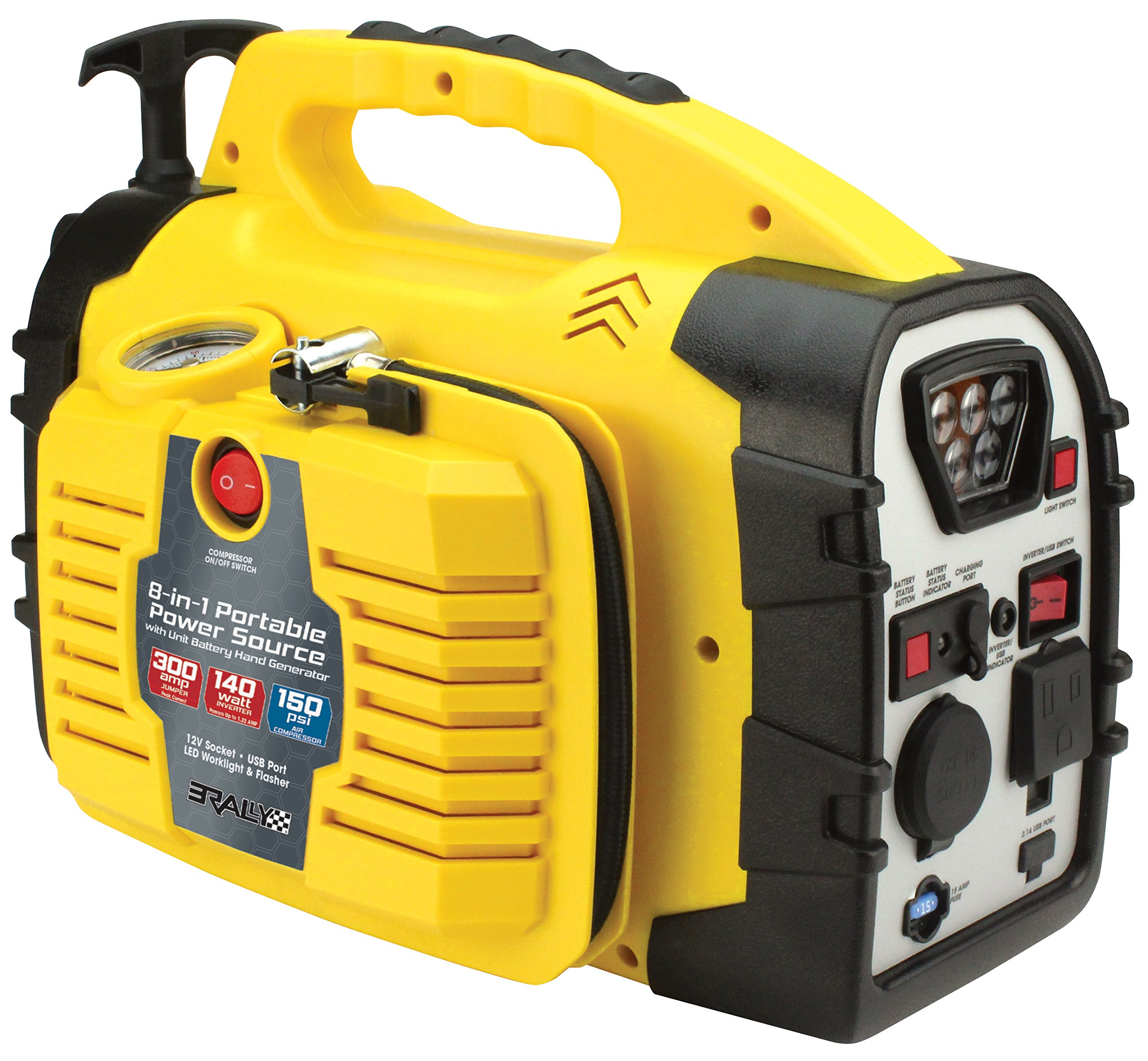 Rally Portable 8 in 1 Power Source and Jumpstarter Unit with Hand Generator (7471)