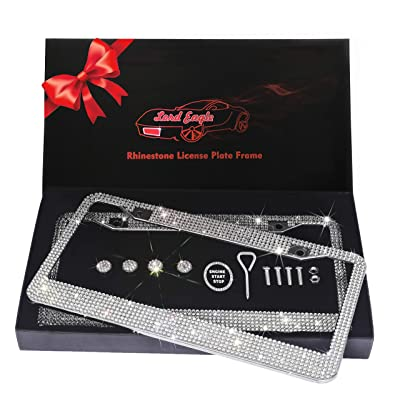 Lord Eagle License Plate Frame, 2 Pack Rhinestone License Plate Frames with GiftBox and 7 Shiny Crystal Rows,Over 1050pcs 14 Facets SS16 Finest Handcrafted Bling White Rhinestone: Automotive [5Bkhe0107563]
