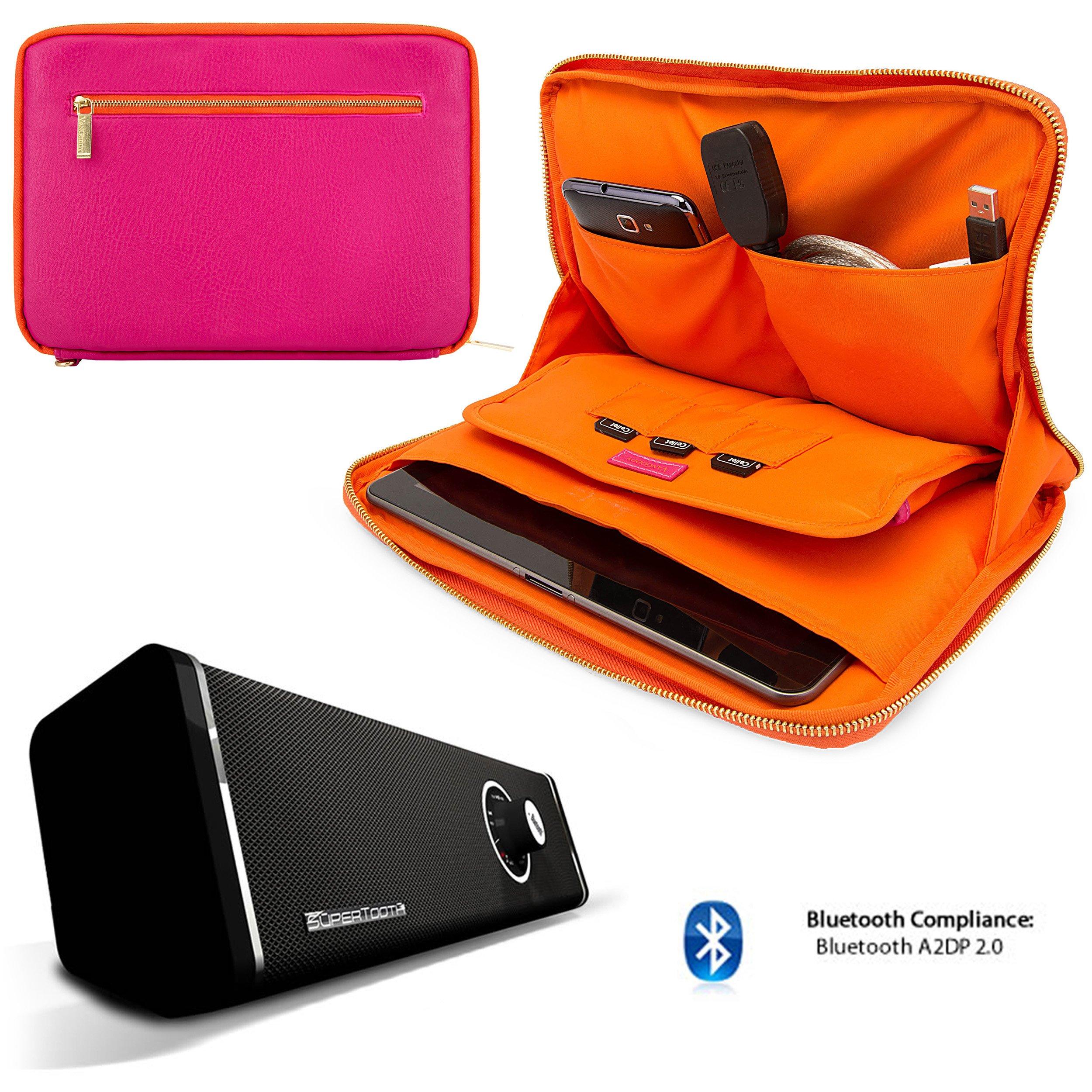 Travel Leatherette Sleeve For Samsung Galaxy Tab S 10.5 / Galaxy Tab 4 10.1 / Galaxy Tab Pro 10.1 + Bluetooth Speaker by VangoddyCase